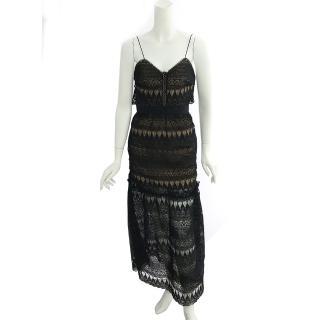 【SELF-PORTRAIT】細肩帶蕾絲長洋裝(黑色)