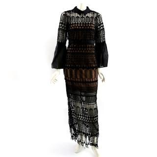 【SELF-PORTRAIT】長袖襯衫領雪紡蕾絲拖地長洋裝(黑色)