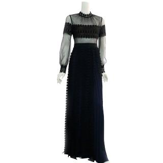 【SELF-PORTRAIT】長袖立領雪紡蕾絲拖地長洋裝(黑色)