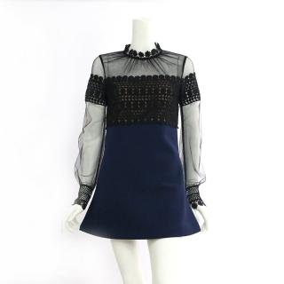 【SELF-PORTRAIT】長袖雪紡立領藍裙短洋裝(黑色)