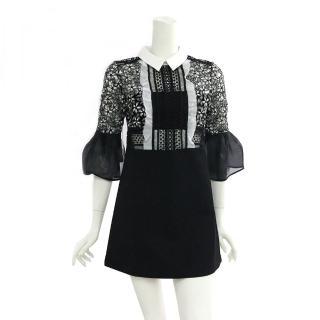 【SELF-PORTRAIT】蕾絲7分袖短洋裝(黑白)