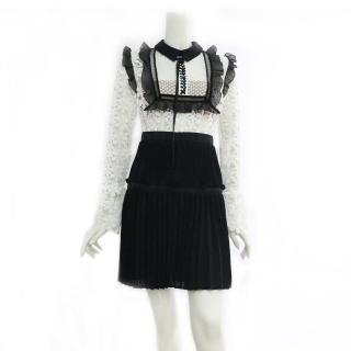 【SELF-PORTRAIT】蕾絲長袖褶裙短洋裝(黑白)