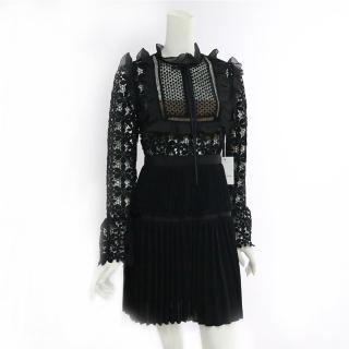 【SELF-PORTRAIT】蕾絲長袖褶裙短洋裝(黑色)