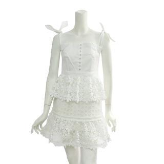 【SELF-PORTRAIT】蕾絲平口短洋裝(白)
