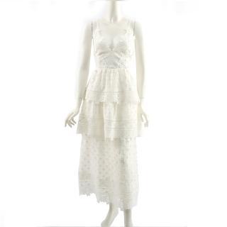 【SELF-PORTRAIT】小花細帶蕾絲層次長洋裝(白色)