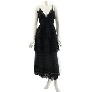 【SELF-PORTRAIT】小花細帶蕾絲層次長洋裝(黑色)