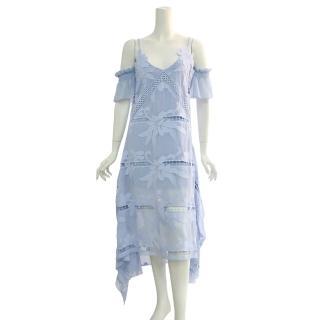 【SELF-PORTRAIT】細帶蕾絲開叉長洋裝(天空藍)