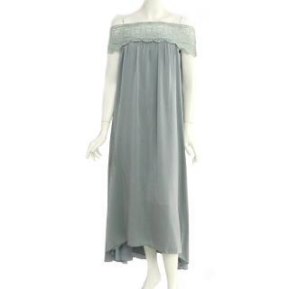 【SELF-PORTRAIT】平肩蕾絲長洋裝(湖水綠)