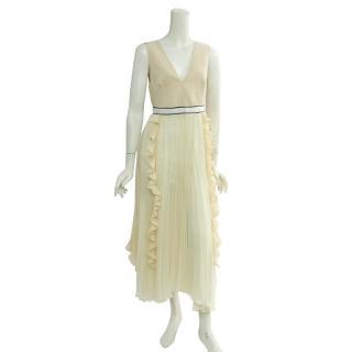 【SELF-PORTRAIT】褶狀蕾絲V領洋裝(米白色)
