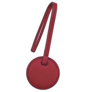 【MICHAEL KORS】防刮皮革圓形禮盒吊飾(紅)