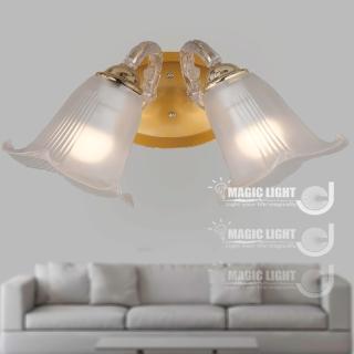 【光的魔法師 Magic Light】BT歐式鄉村百合雙壁燈 法國金 (安全燈具)