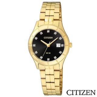 【CITIZEN星辰】時尚金錶設計女性石英腕錶-黑(EU6042-57E)