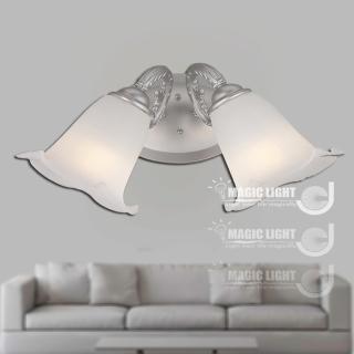 【光的魔法師 Magic Light】歐式鄉村百合雙壁燈 時尚銀 (安全燈具)