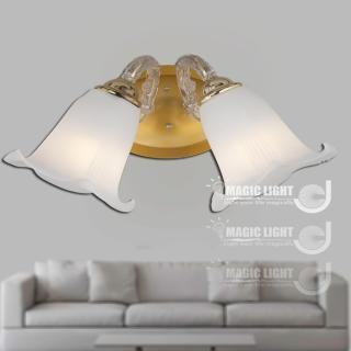 【光的魔法師 Magic Light】歐式鄉村百合雙壁燈 法國金 (安全燈具)