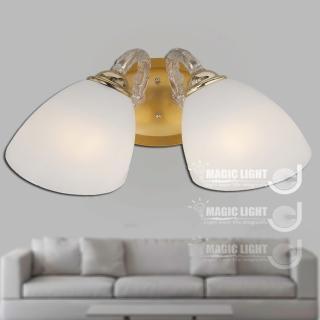 【光的魔法師 Magic Light】歐式鄉村牛角雙壁燈 法國金 (安全燈具)