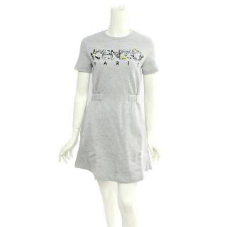 ~KENZO~logo短袖厚棉洋裝^(灰色^)