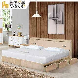 【ASSARI】房間組三件 床箱+6抽屜床架+3M三線獨立筒(雙大6尺)