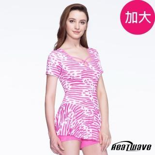 【Heatwave 熱浪】加大泳裝 連身平口裙裝(粉莉佳人)