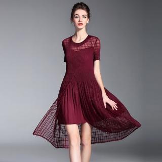 【羽生摺衣】幸福和風-下格秀紗紗洋裝(共三色)