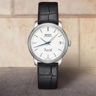 【MIDO】Baroncelli III Heritage 復刻機械腕錶-白x黑/32mm(M0272071601000)