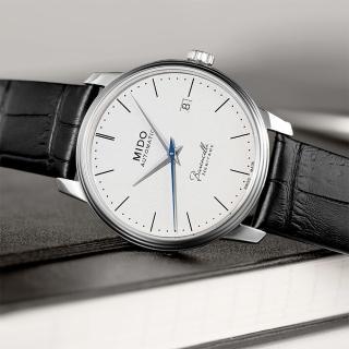 【MIDO】Baroncelli III Heritage 復刻經典機械腕錶-白/41mm(M0274071601000)