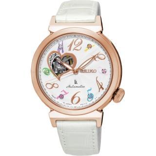 【林依晨代言 SEIKO】LUKIA 專屬愛戀開芯經典機械錶-銀x玫塊金框/34.6mm(4R38-01D0S  SSA840J1)