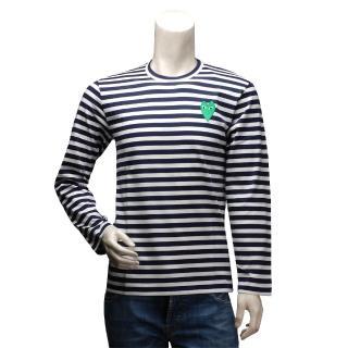 【PLAY】經典川久保玲綠色愛心刺繡條紋圓領長袖上衣(男-深藍AZ-T052-051-1)