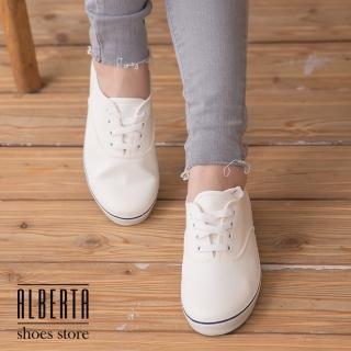 【Alberta】台灣製經典飽和色系休閒帆布鞋(白色)