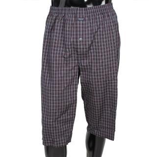 【BURBERRY】細格紋棉質五分居家短褲(深藍)