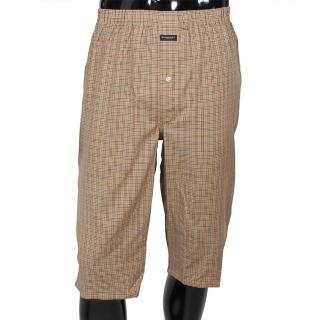 【BURBERRY】細格紋棉質五分居家短褲(駝色)