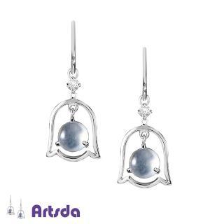 【Artsda】冰種白翡風鈴鑽石耳環(天然A貨翡翠 18K金)