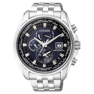 【CITIZEN星辰】GENT 即刻商務 三眼計時全球電波腕錶-銀藍44mm(AT9031-52L)