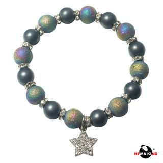 【HEMAKING】黑膽石磨砂珠閃亮星星手鍊