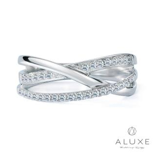 【A-LUXE 亞立詩】18K白金奢華鑽石線戒