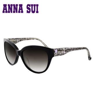 【Anna Sui】日本安娜蘇 晶鑽蕾絲鏡腳設計太陽眼鏡(黑色-AS875-009)