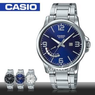 【CASIO 卡西歐】簡單時尚_不鏽鋼藍面指針男錶(MTP-E124D)