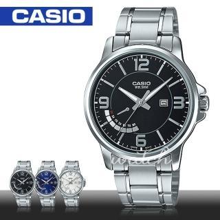 【CASIO 卡西歐】簡單時尚_不鏽鋼黑面指針男錶(MTP-E124D)