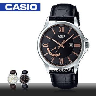 【CASIO 卡西歐】經典紳士錶款_羅馬數字_皮革石英男錶(MTP-E125L)