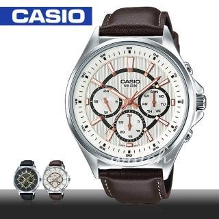 【CASIO 卡西歐】商務型錶款_皮革三眼指針型男錶(MTP-E303L)