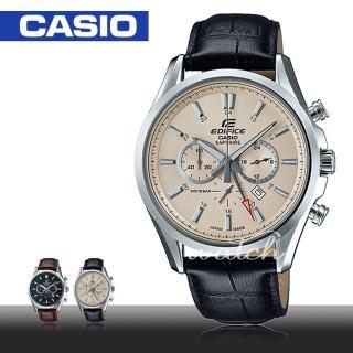 【CASIO 卡西歐 EDIFICE 系列】經典紳士錶款_三眼計時皮革男錶(EFB-504JL)