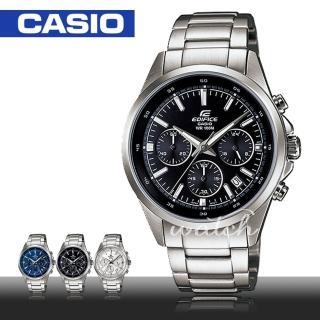 【CASIO 卡西歐 EDIFICE 系列】人氣首選_不鏽鋼指針三眼計時男錶(EFR-527D)
