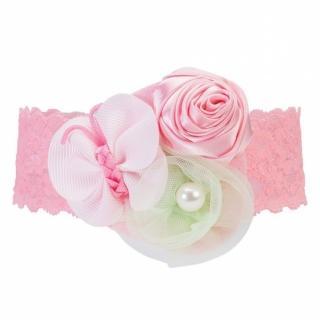 【美國 Elegant Baby】彈性蕾絲髮帶 - 粉紅玫瑰蝴蝶綠花(9607)