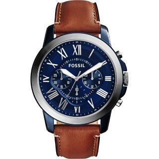 【FOSSIL】Grant 旗艦三眼計時腕錶-藍x棕/44mm(FS5151)