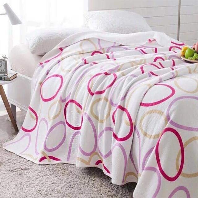 【Betrise】天竺棉針織舒適透氣涼被-150-200cm(律動-粉)