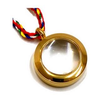【十相自在】2.5公分 鋼合金放大鏡效果圓形嘎嗚盒-金色(小佛龕)
