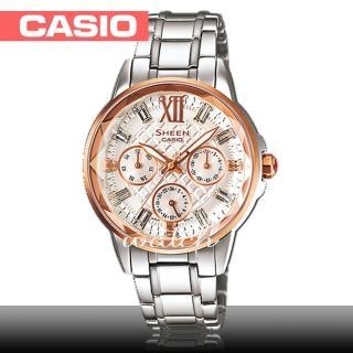 【CASIO 卡西歐 SHEEN 系列】大方典雅_經典不鏽鋼三眼女錶(SHE-3029SG)