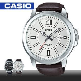 【CASIO 卡西歐】大錶盤時尚休閒石英皮革男錶(MTP-X100L)