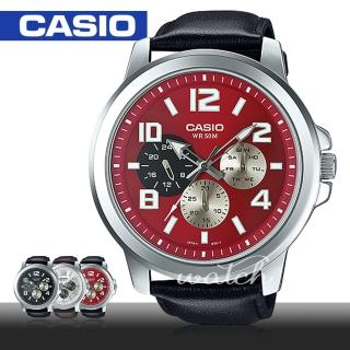 【CASIO 卡西歐】超大錶徑推薦_紅面皮革石英男錶_52mm(MTP-X300L)