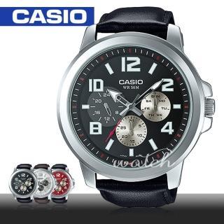 【CASIO 卡西歐】超大錶徑推薦_黑面皮革石英男錶_52mm(MTP-X300L)
