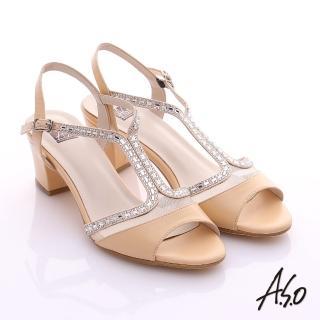 【A.S.O】璀璨注目 真皮貼鑽粗低跟涼鞋(卡其)